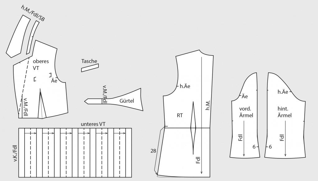 Das Foto zeigt die fertigen Schnittteile von einem Blazer mit Falten-Partie und Reverskragen.
