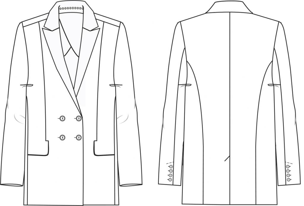 Das Foto zeigt die Vorder- und Rückansicht einer technischen Zeichnung von einem Blazer mit steigendem Reverskragen. Sie ist die Vorlage für die Schnittkonstruktion von M. Müller & Sohn.