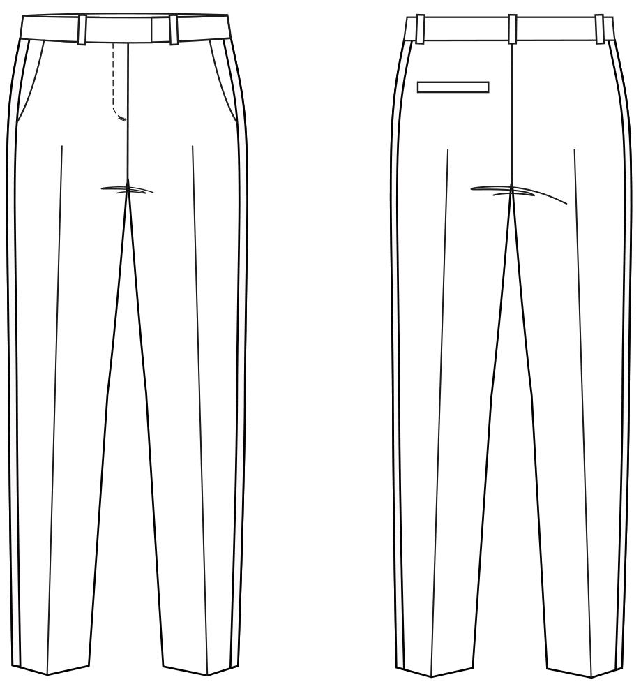 Das Foto zeigt die Vorder- und Rückansicht einer technischen Zeichnung von einer 7/8 Hose mit Galonstreifen. Sie ist die Vorlage für die Schnittkonstruktion von M. Müller & Sohn.
