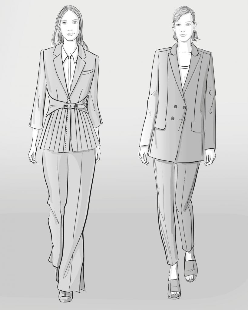 Zu sehen sind zwei Modezeichnungen von Hosenanzügen. Sie dienen als Vorlage für die Schnittkonstruktionen.