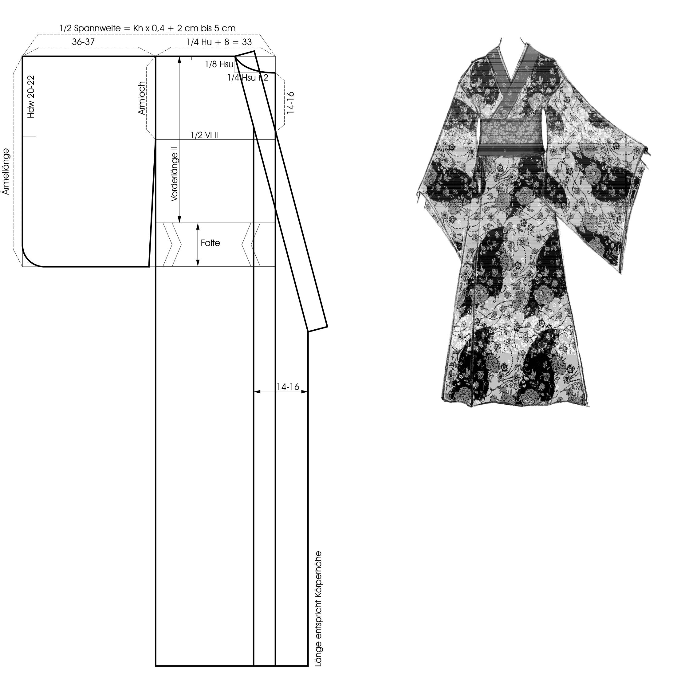 Schnittkonstruktion eines Kimonos