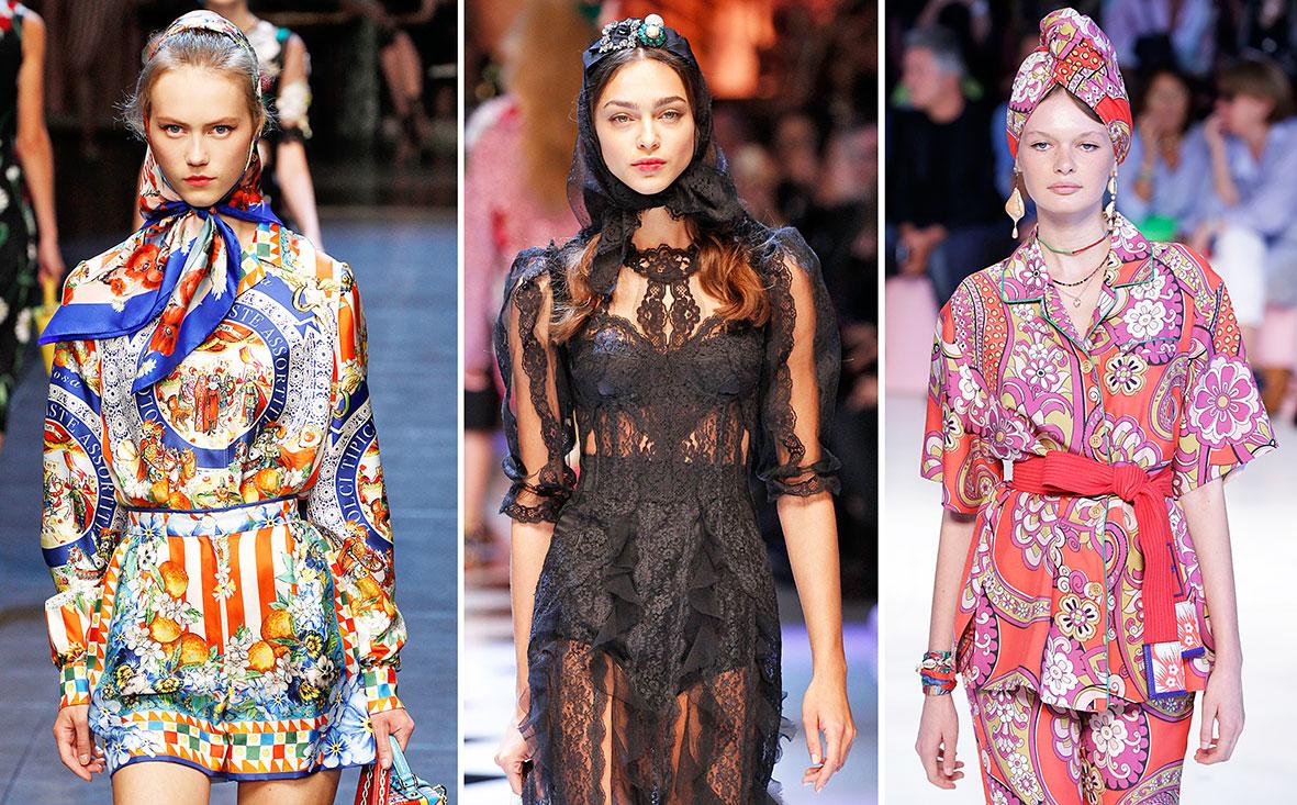 Kopftuch auf dem Laufsteg von Dolce & Gabbana und Etro