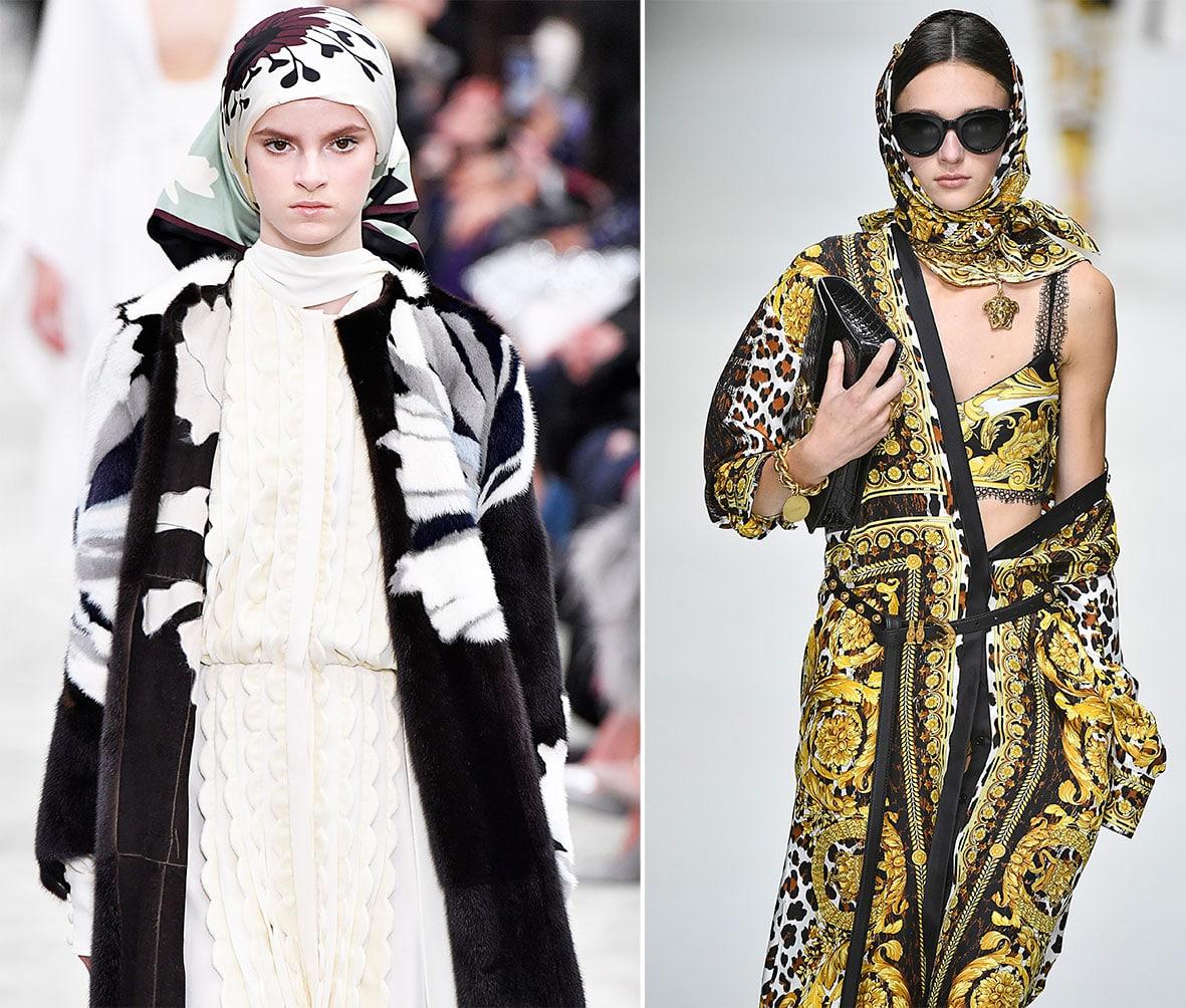Kopftuch auf dem Laufsteg von Valentino und Versace