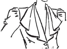 Auf dem Bild sieht man einen skizzierten Oberkörper mit einem Kragen mit Wasserfalleffekt