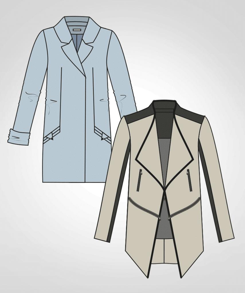 Die Abbildung zeigt zwei technische Zeichnungen von Mänteln, die Modeschüler erstellt haben.