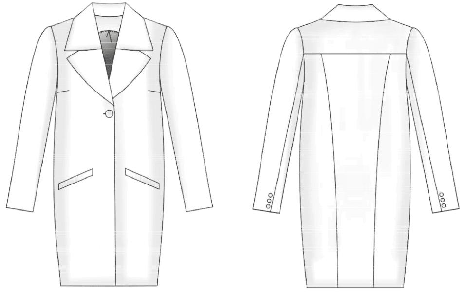 Die Abbildung zeigt die Vorder- und Rückansicht einer technischen Zeichnung eines Mantels. Sie dient als Vorlage für die schnitttechnische Umsetzung.