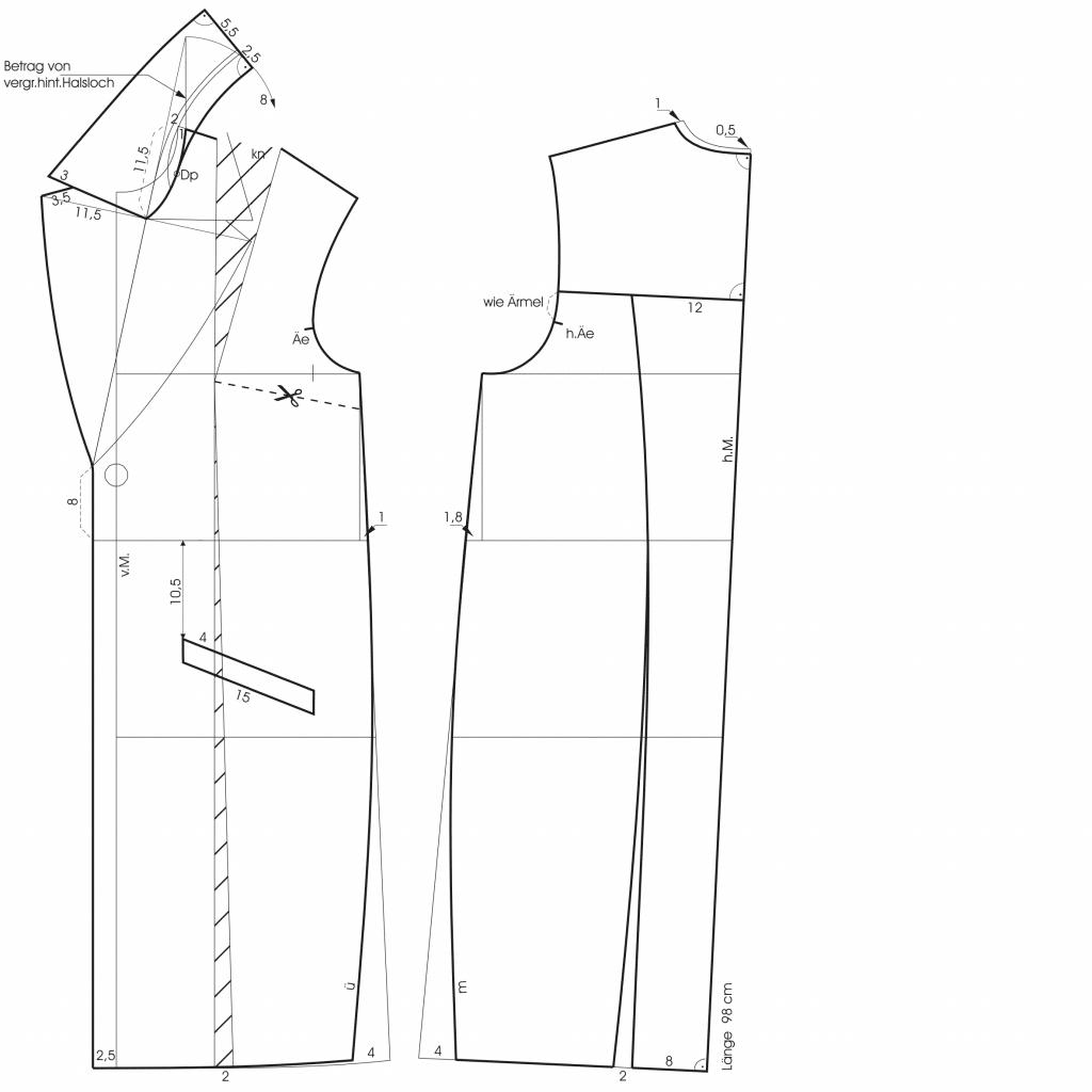 Zeigt die Schnitt-Technik eines Mantels mit Reverskragens.