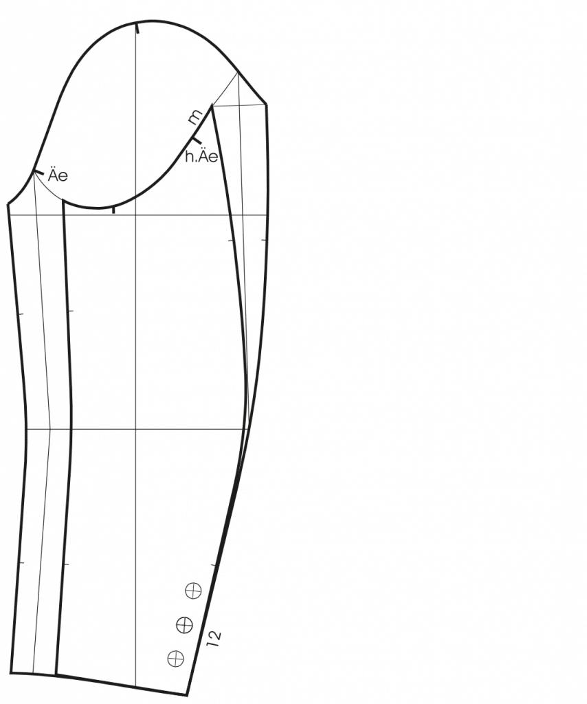 Zeigt die Schnittkonstruktion eines Zweinahtärmels für einen Mantel.