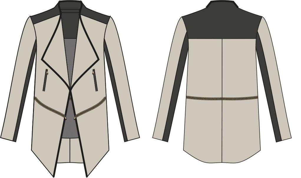 Zu sehen ist die Vorder- und Rückansicht einer Jacke mit Reißbverschlüssen. Sie dient als Vorlage für die Schnitt-Technik.