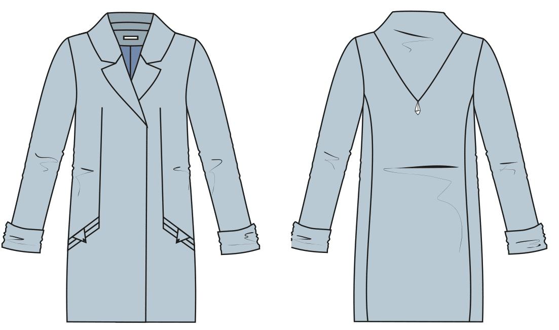 Die Abbildung zeigt die Vorder- und Rückansicht einer technischen Zeichnung von einem Mantel mit Reverskragen. Sie dient als Vorlage für die Schnitttechnik.