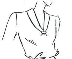 Auf dem Bild sieht man einen skizzierten Oberkörper mit einem Matrosenkragen