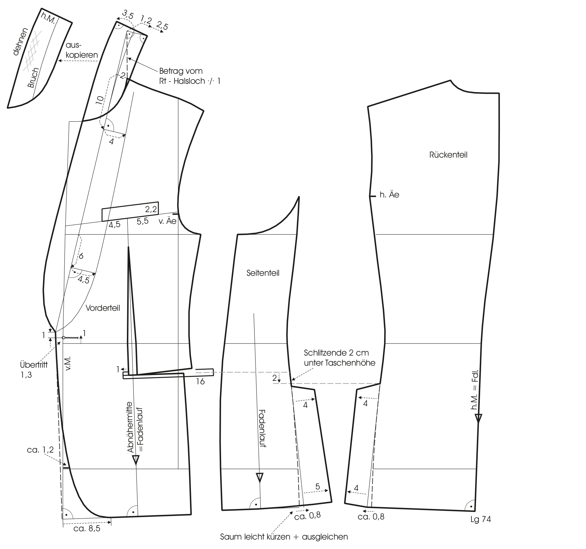 Schnittkostruktion eines Slimline-Sakko mit Schalkragen