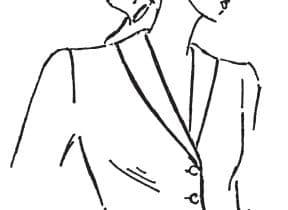 Auf dem Bild sieht man einen skizzierten Oberkörper mit einem Schalkragen