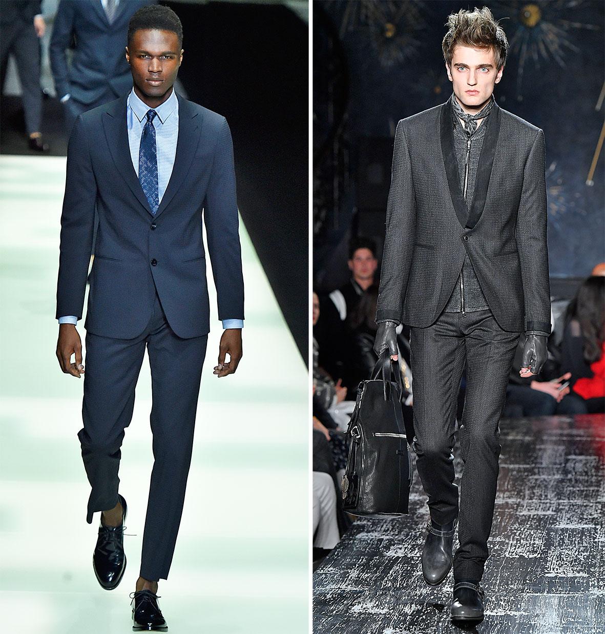 Slimline Anzüge auf dem Laufsteg bei Dior und Varvatos