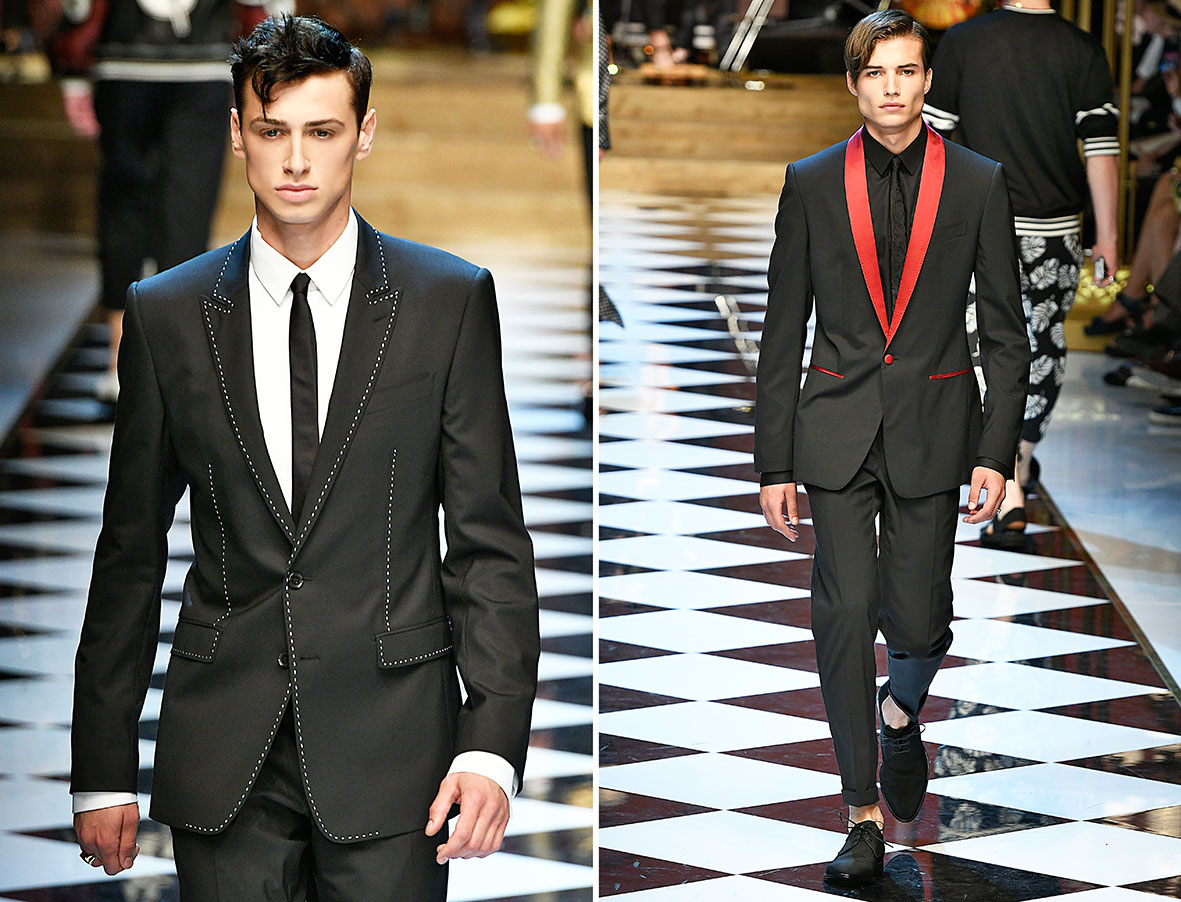 Slimline Anzüge auf dem Laufsteg bei Dolce & Gabbana