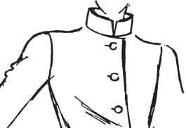 Auf dem Bild sieht man einen skizzierten Oberkörper mit einem Stehkragen