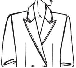 Auf dem Bild sieht man einen skizzierten Oberkörper mit einem steigenden Revers