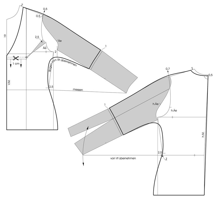 Schnittkonstruktion Fledermausärmel