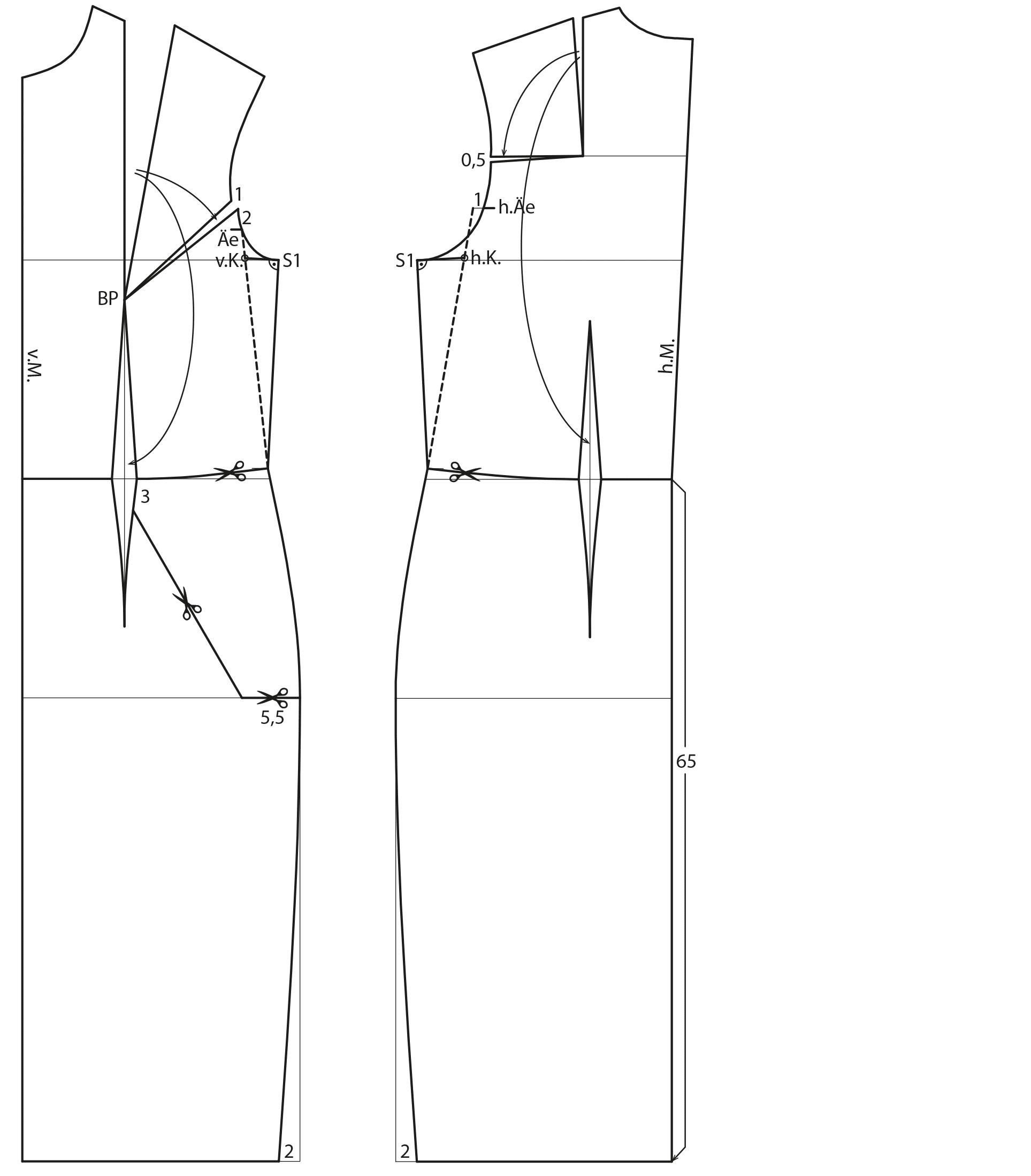 Schnittkonstruktion Vorder- und Rückenteil