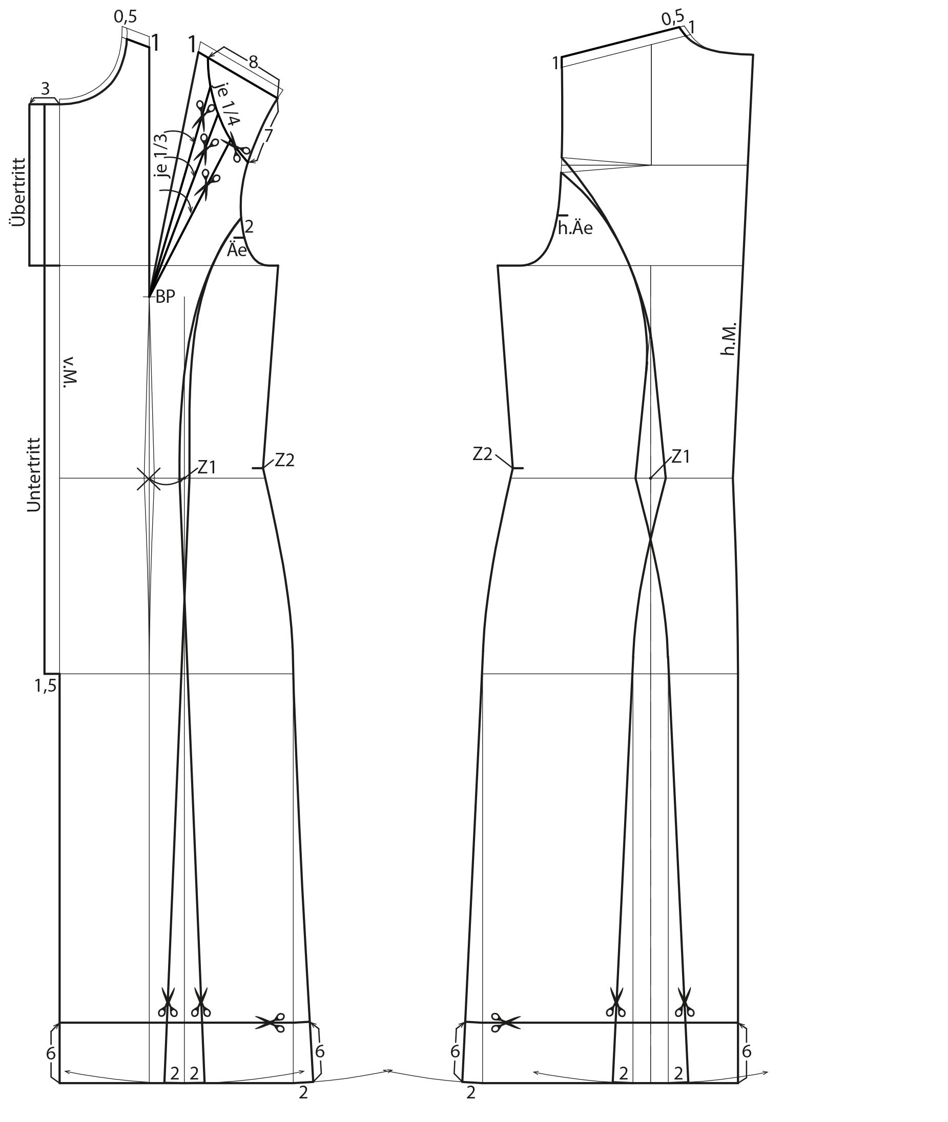 Schnittkonstruktion Vintage Kleid