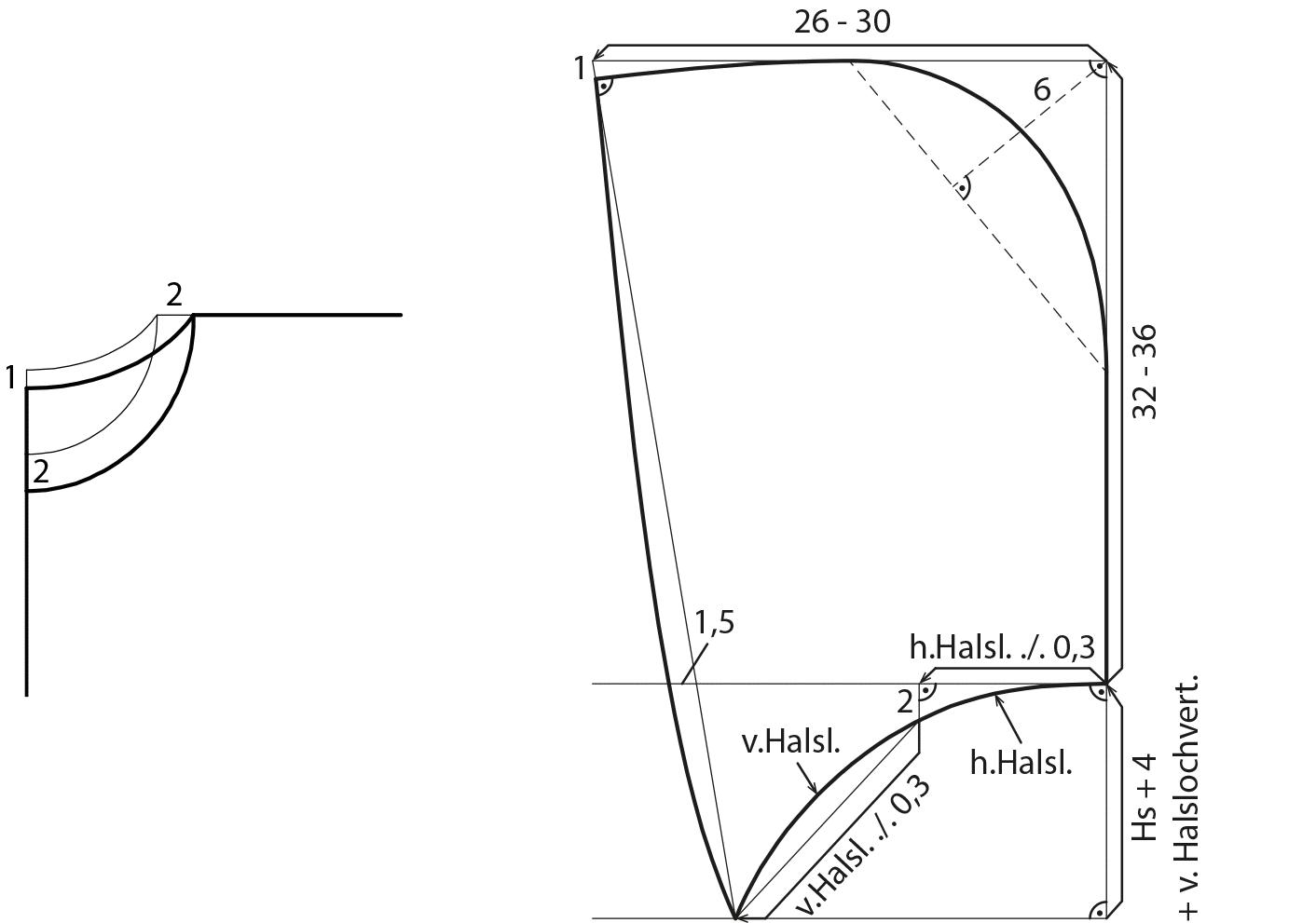 Schnittkonstruktion einer Kapuze eines Ponchos