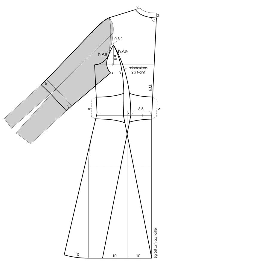 Schnittkonstruktion Seitenteil-Kimono
