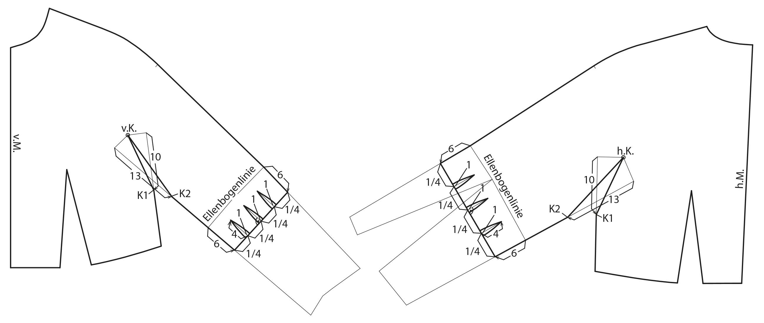 Schnittkonstruktion Vorbereitung Drachenkeil