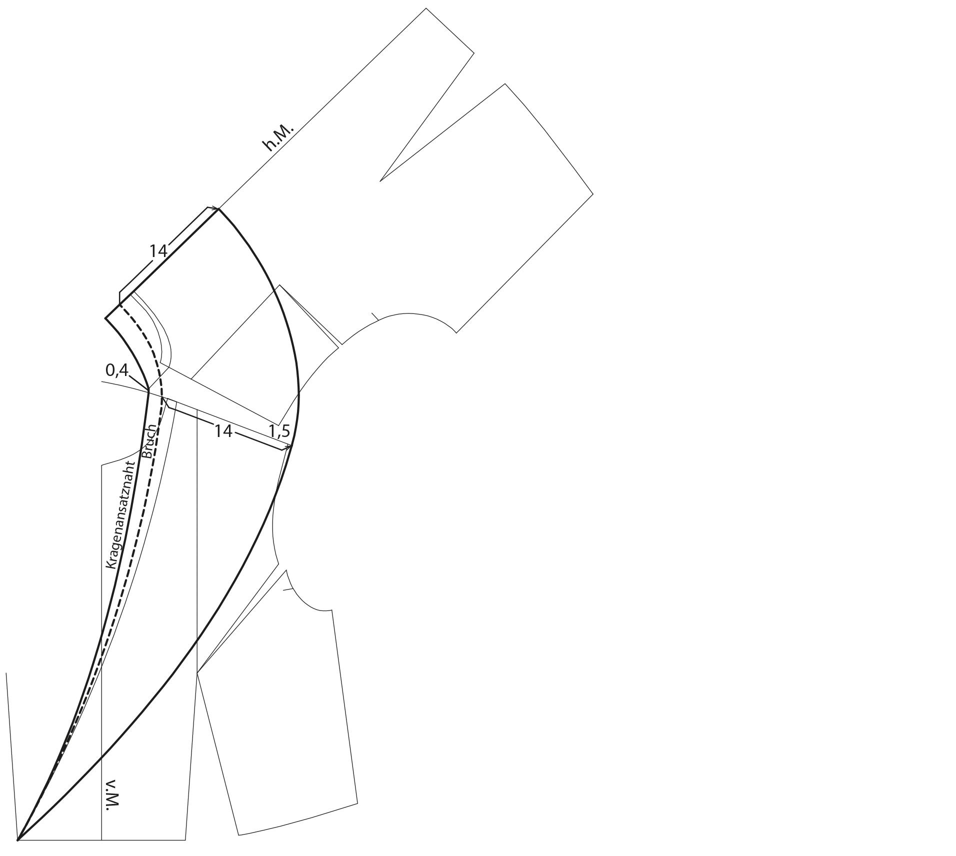 Schnittkonstruktion Rückenanlage