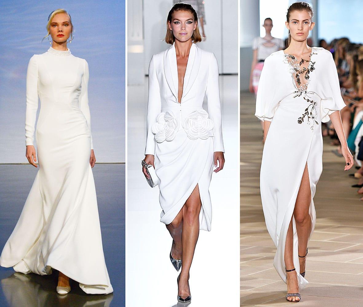 Brautkleider auf dem Laufsteg von den Modedesignern Justin Alexander, Ralph & Russo, Monique Lhuillier