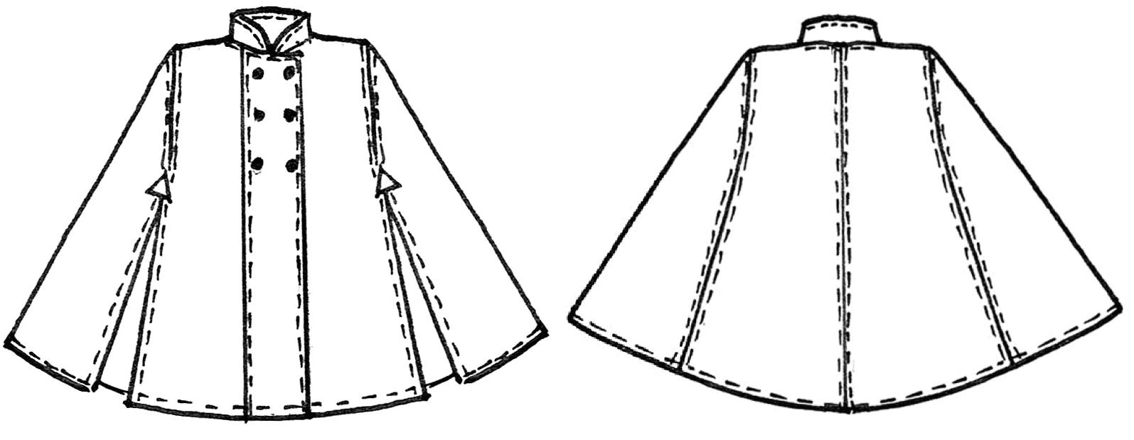 Schnittkonstruktion Cape mit Stehkragen