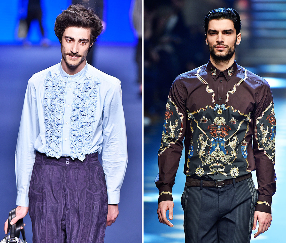 Hemden auf dem Laufsteg bei Etro und Dolce & Gabbana