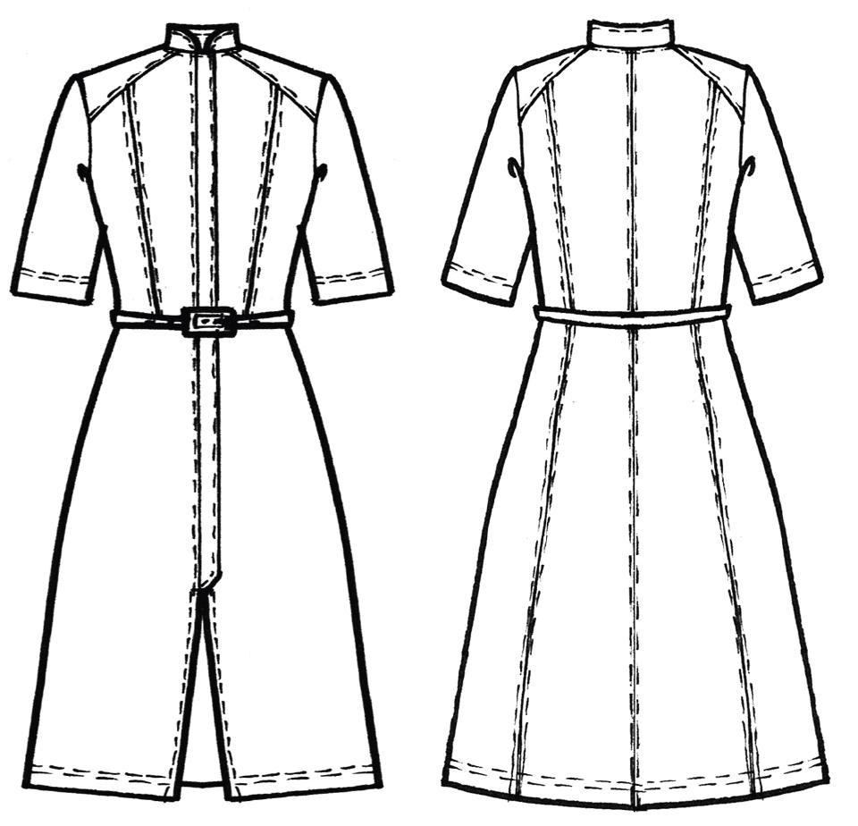 Schnittkonstruktion Vintage Kleid mit verdeckter Knopfleiste