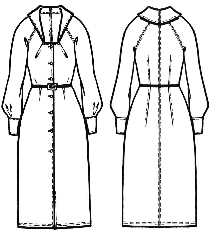 Schnittkonstruktion Vintage Kleid mit Knopfleiste