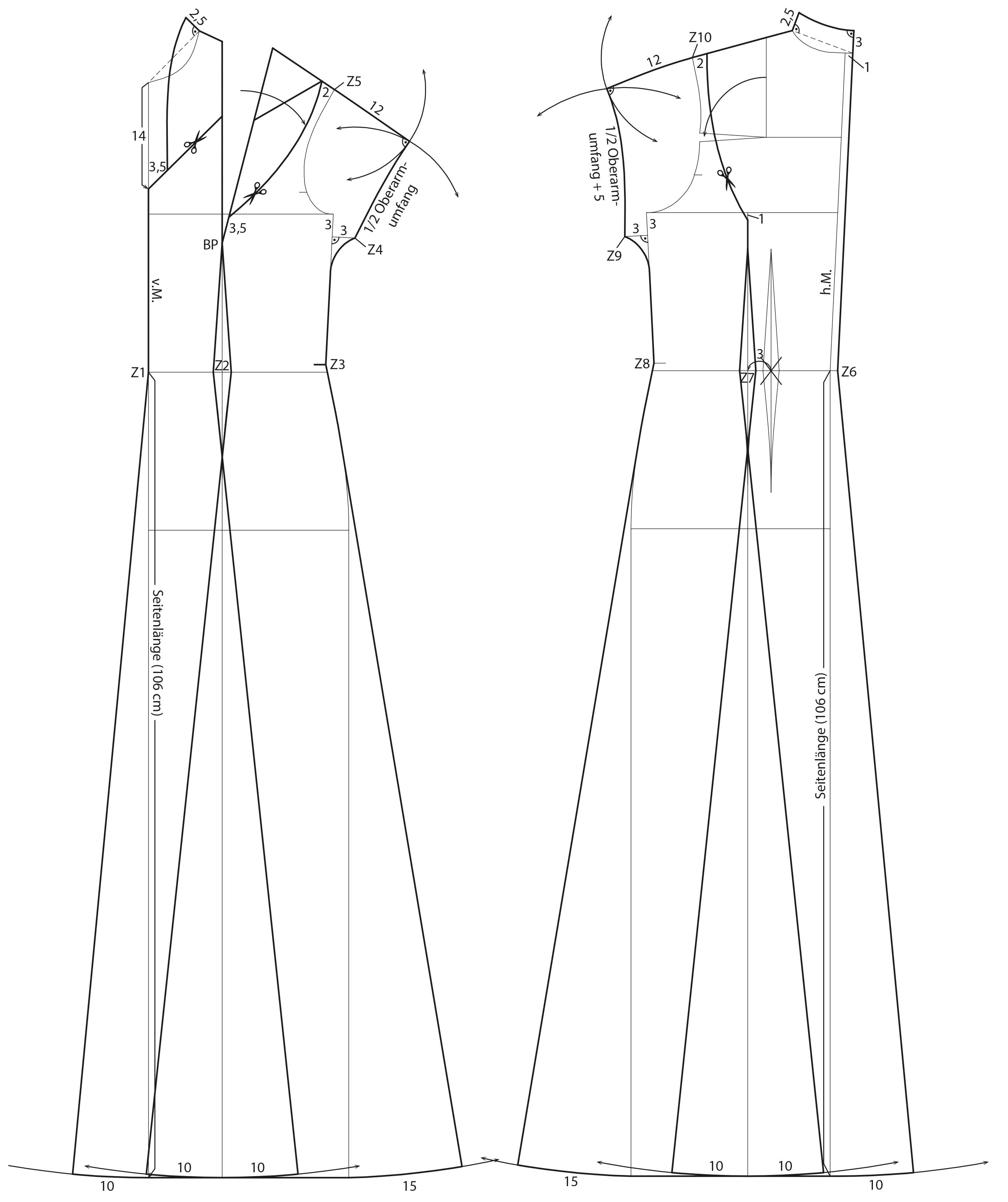Schnitttechnik Vorder- und Rückenteil