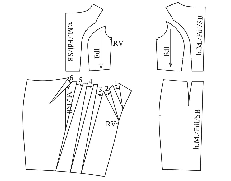 Cocktailkleid mit Falten Schnittteile