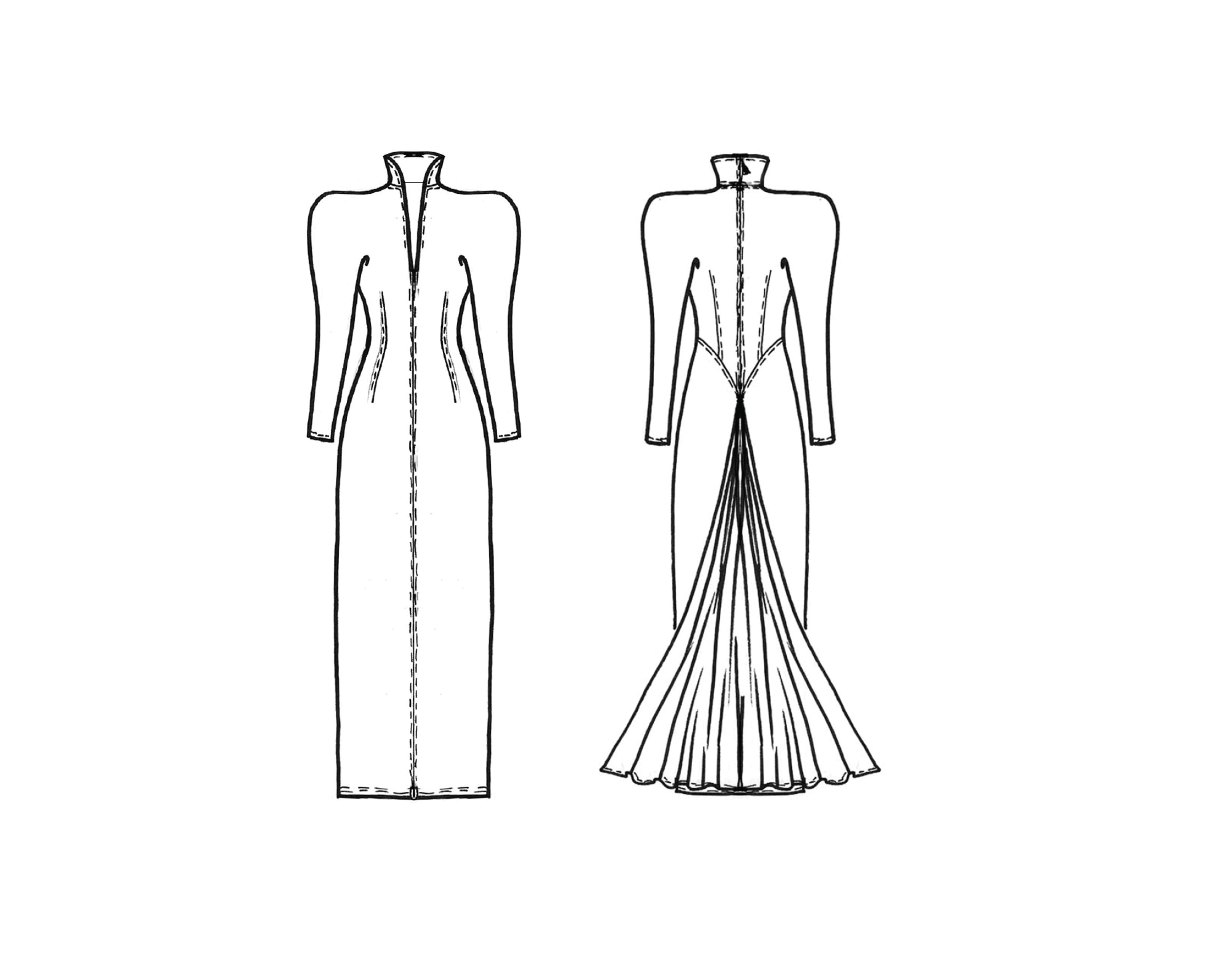 Schnitttechnik Kleid mit Kelchkragen