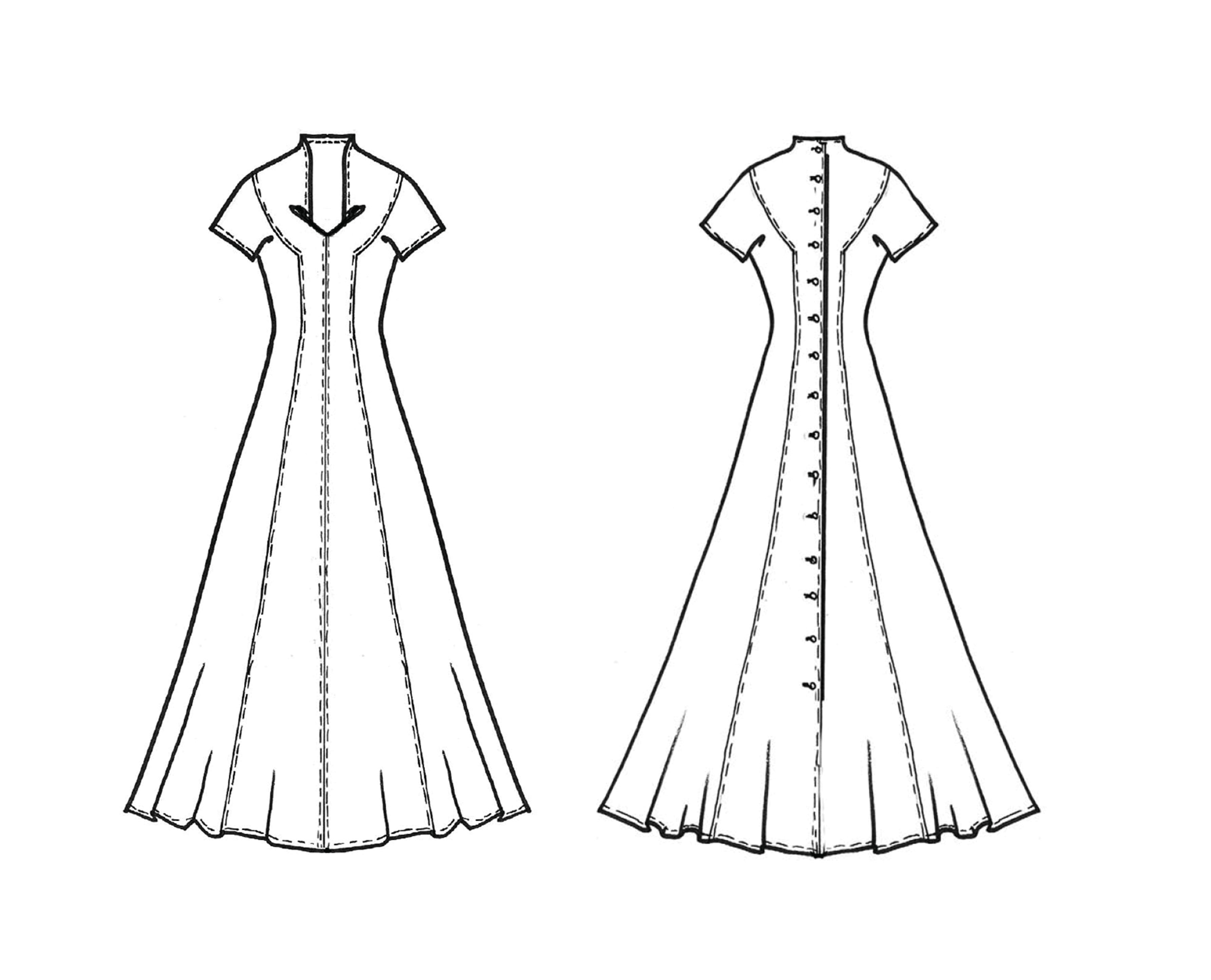 Schnitttechnik Kleid mit gelegten Falten im Ausschnitt