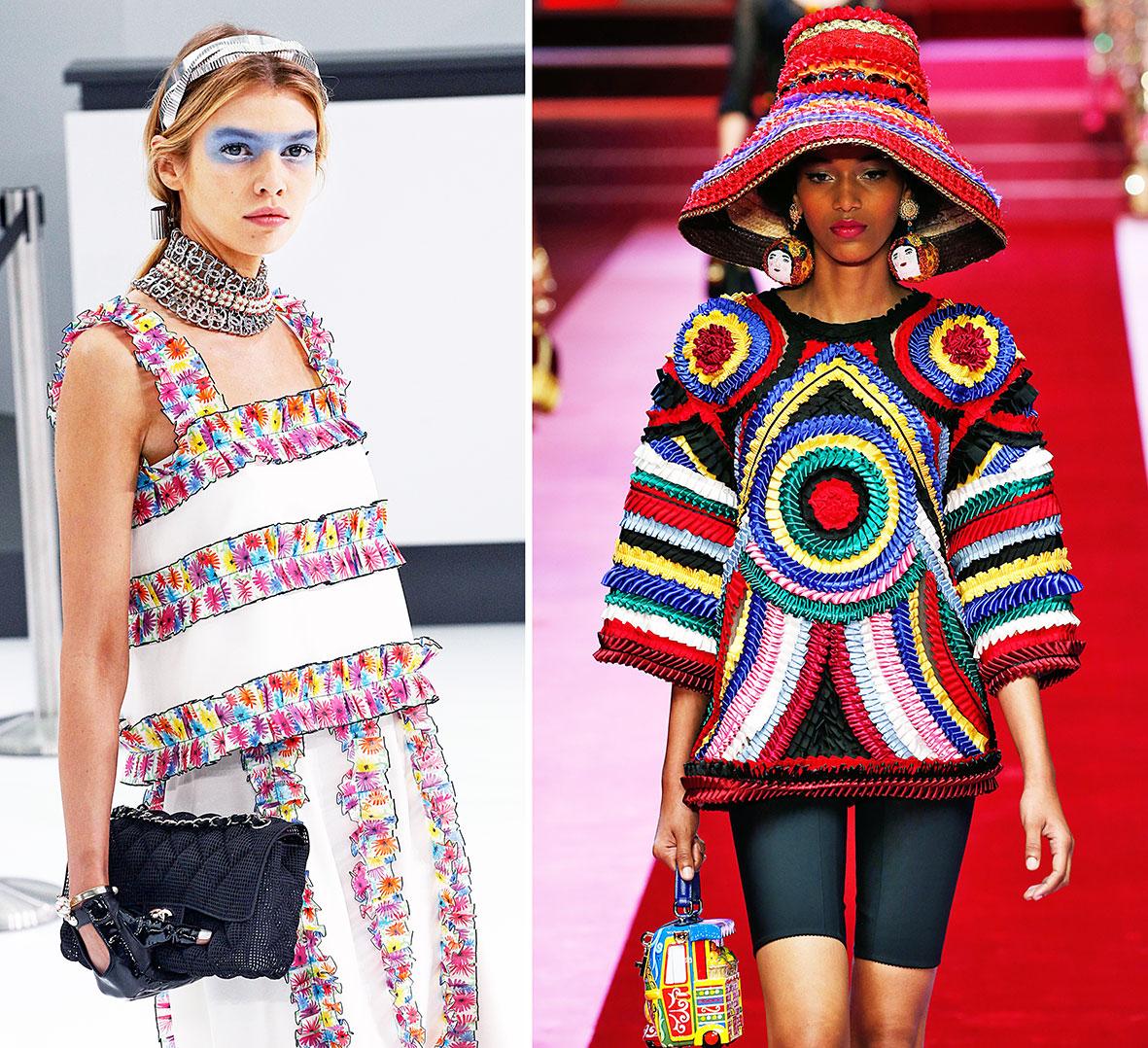 Rüschen und Auszier auf dem Laufsteg bei Chanel und Dolce & Gabbana