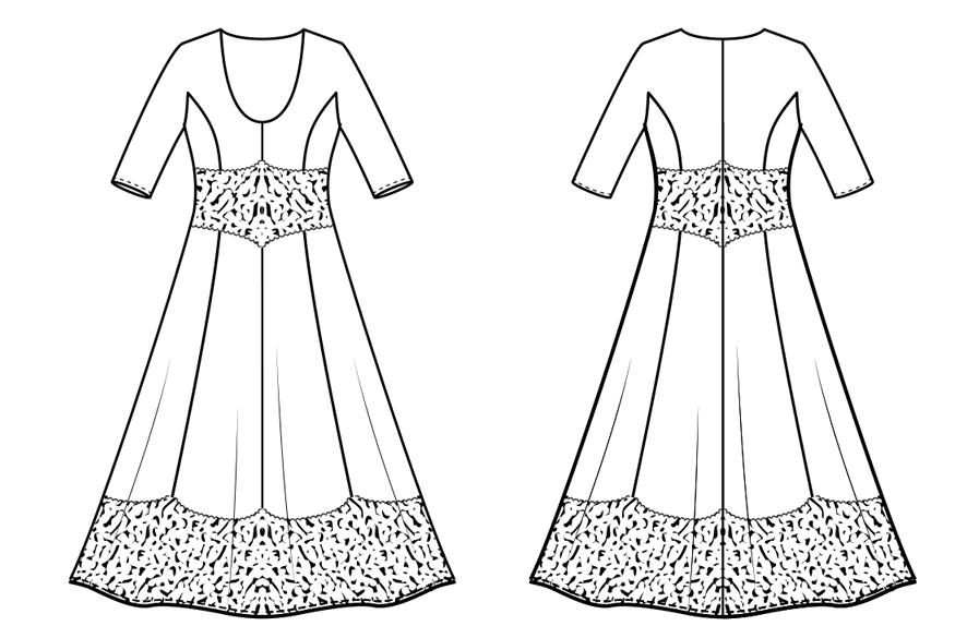 Tailliertes Kleid mit Seitenteil-Kimono