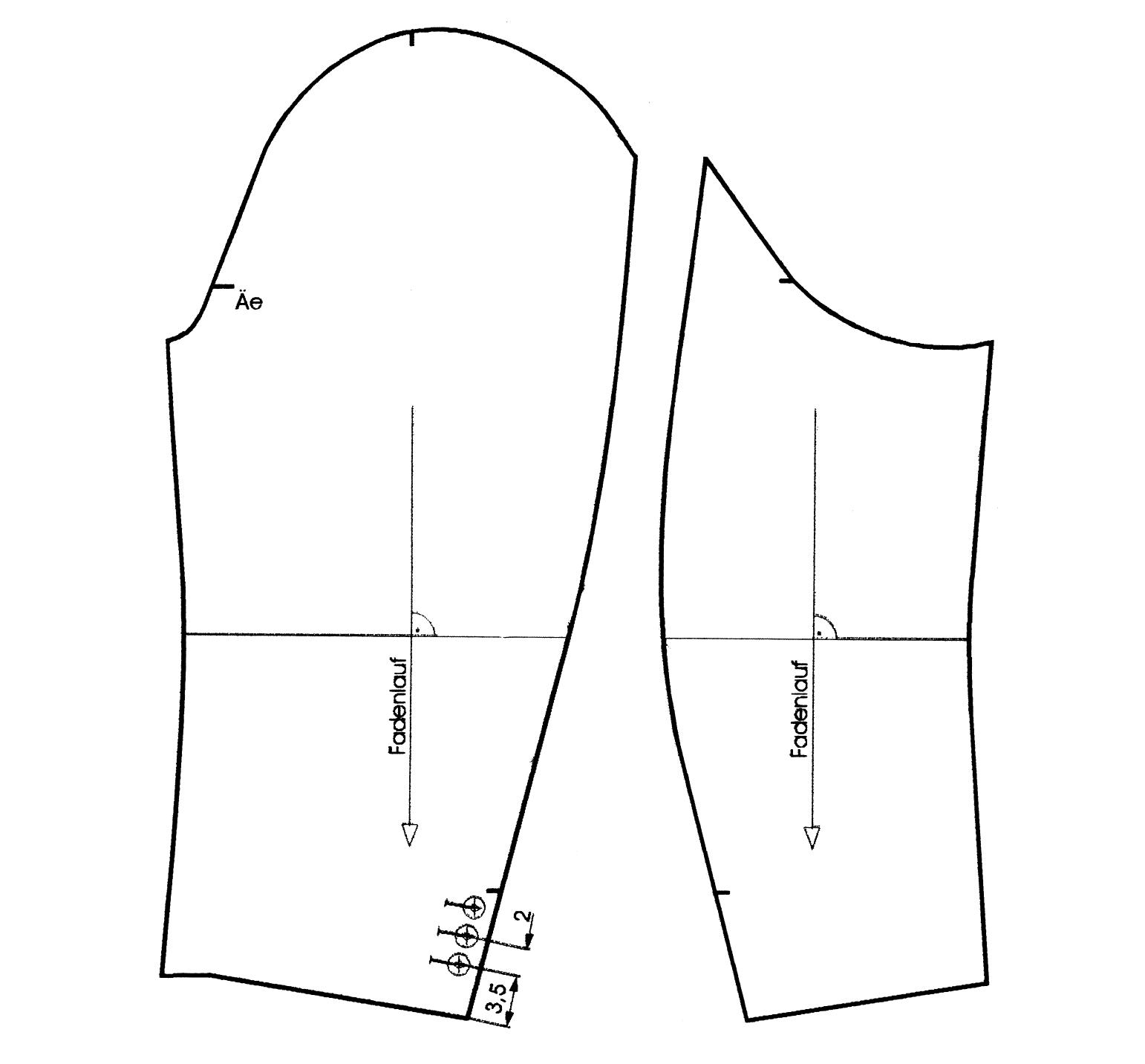 Schnittkonstruktion für Ärmel beim Herrenmantel
