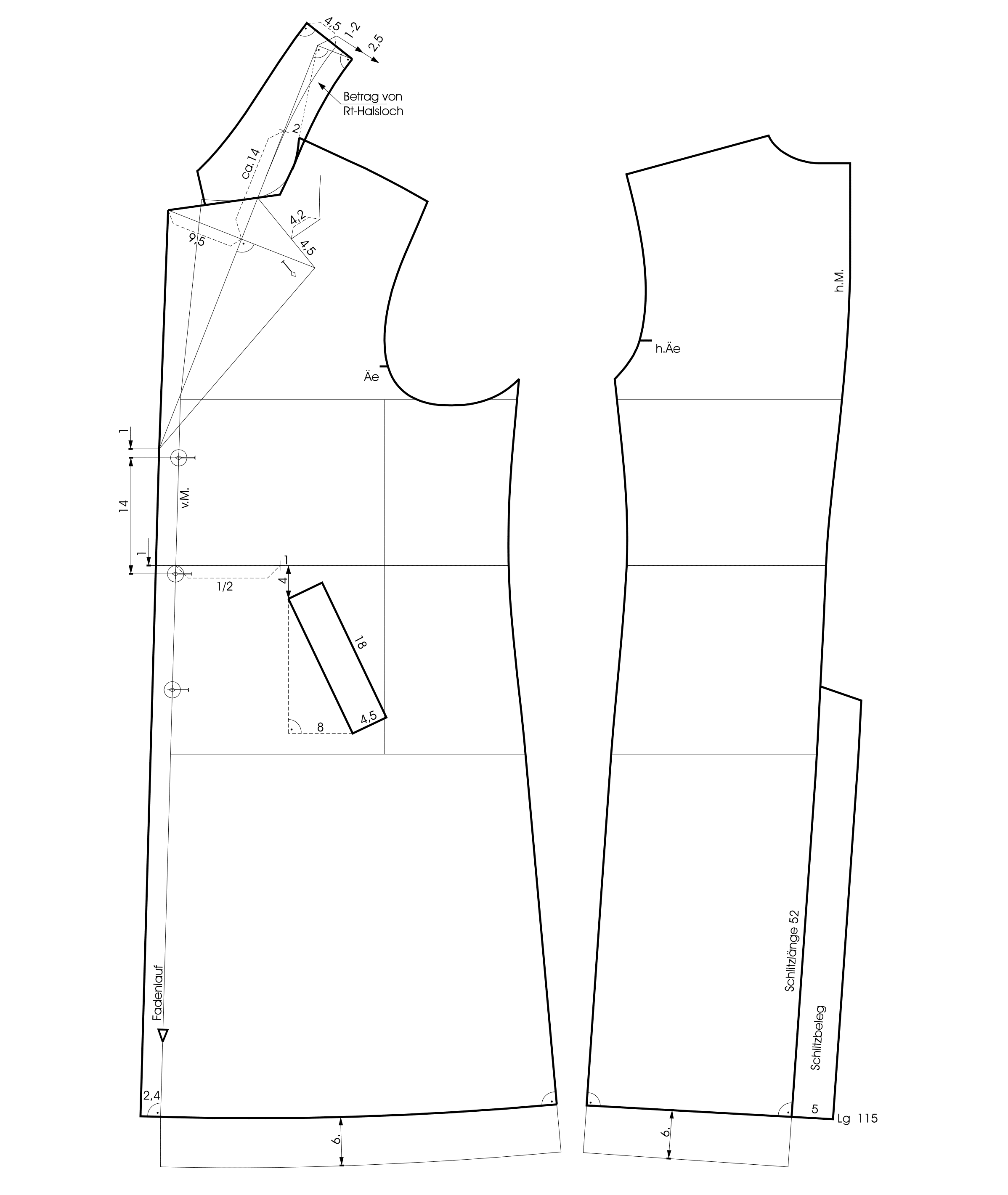 Schnittkonstruktion für Herrenmantel