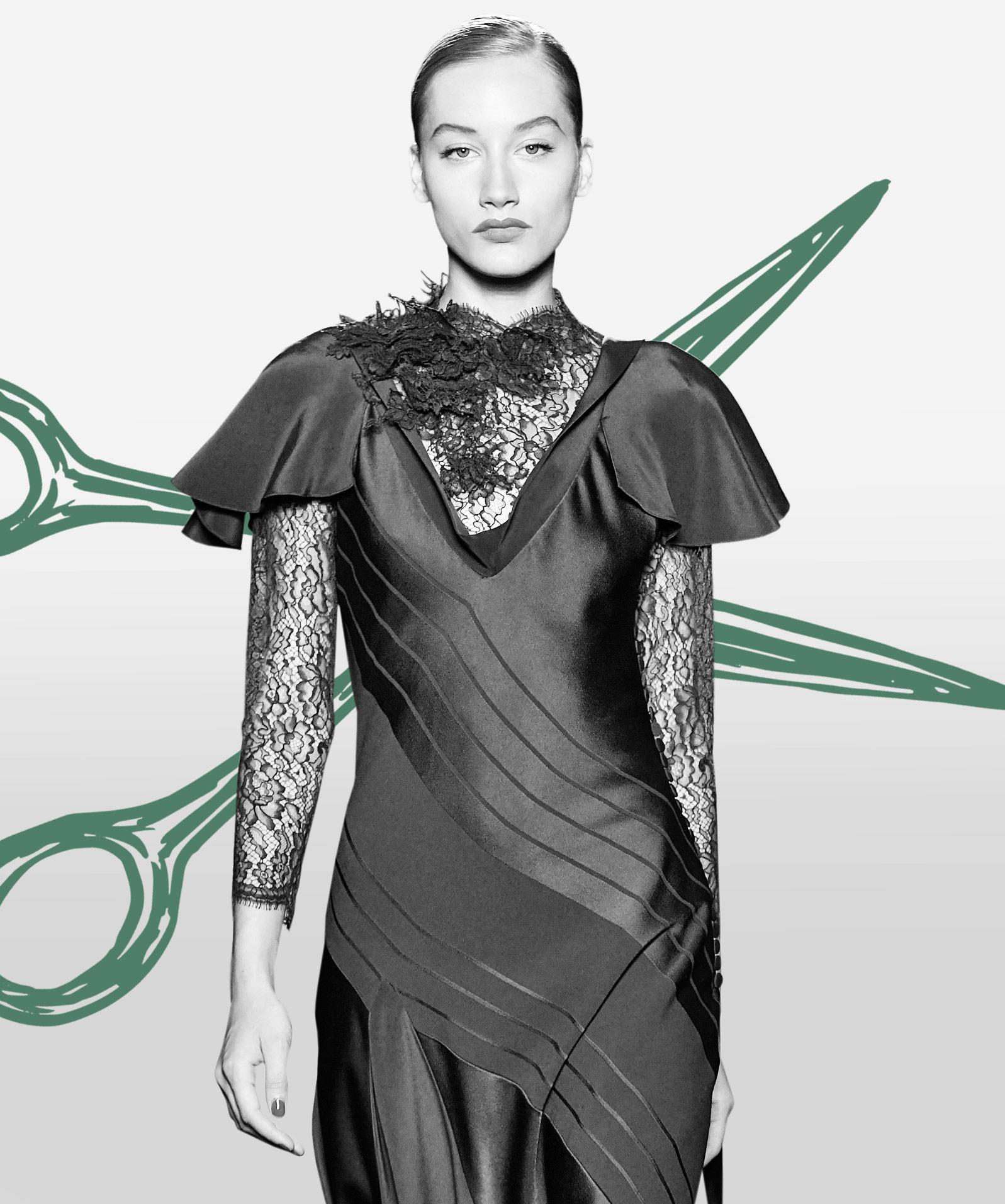 Kleid im Diagonalschnitt von Fournie
