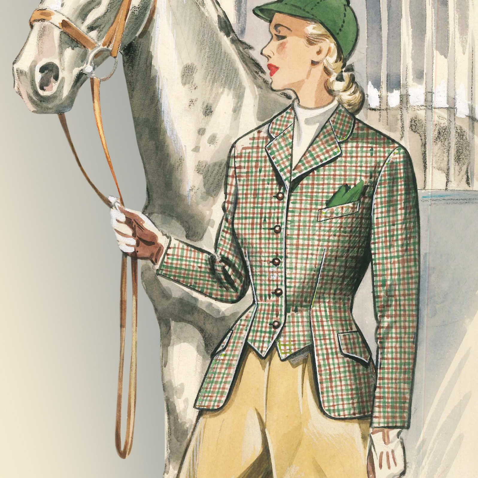 Dieses Bild zeigt eine Reiterin mit Reijackett aus dem Jahre 1953