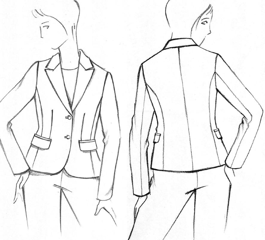 Die Zeichnung zeigt eine klassische Jacke mit Spitzrevers und rundem Saumabstich.