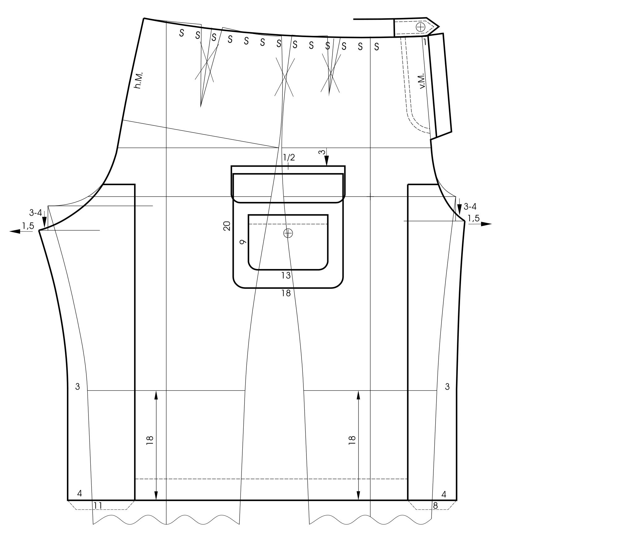 Schnittkonstruktion einer Low Croch Hose in 7/8 Länge