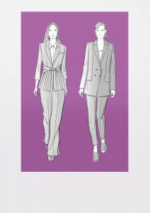 Modezeichnungen von zwei Hosenanzügen mit integrierten Taschen
