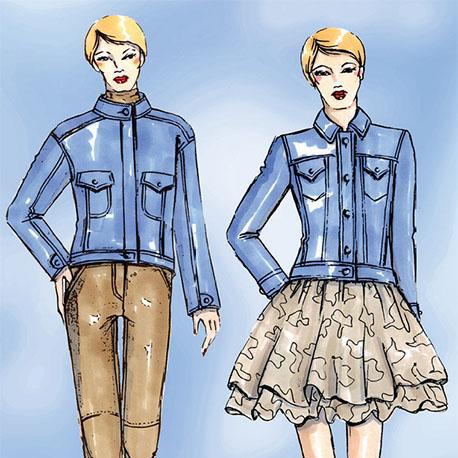 Zwei klassische Jeansjacken