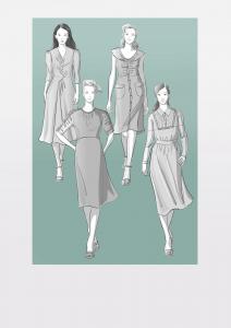 Modezeichnungen von vier Kleidern im Retro-Stil