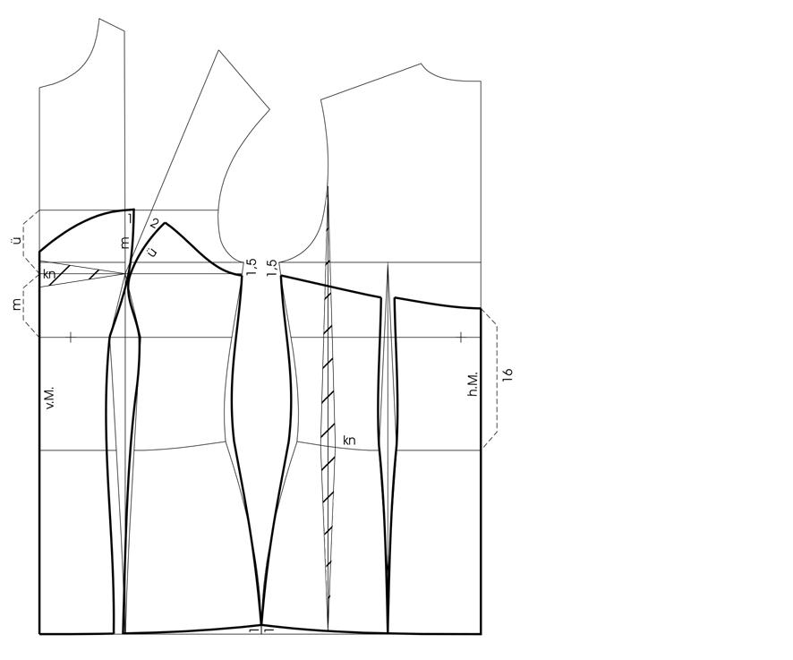 Schnittkonstruktion Corsage