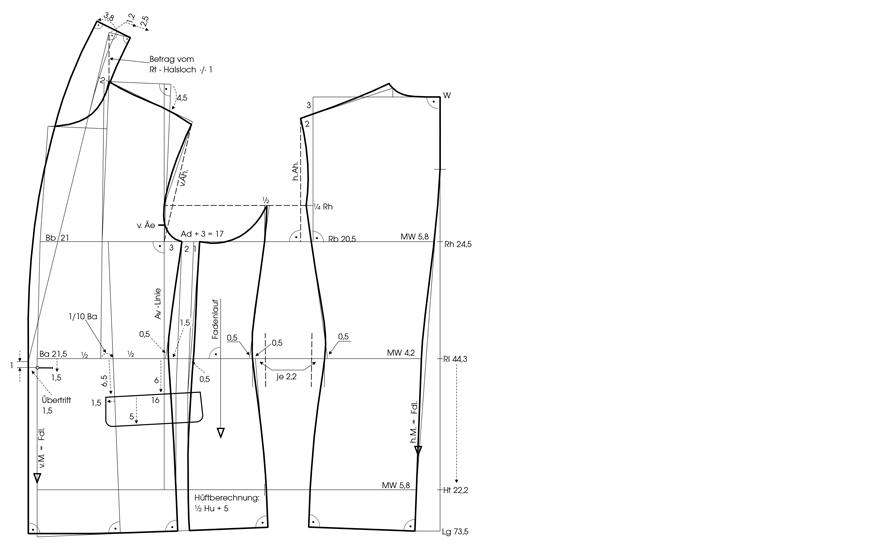 Schnittkonstruktion Einreiher Sakko mit Schalrevers